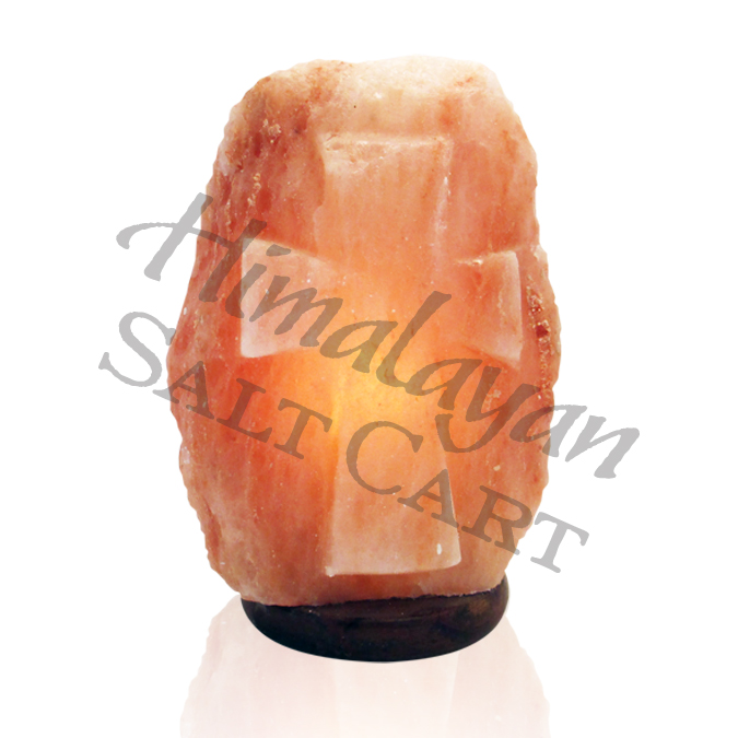 Himalayan Salt Lamps Georgia : Crafted Himalayan Salt Lamps : Himalayan Salt Carved Cross Medium Lamp