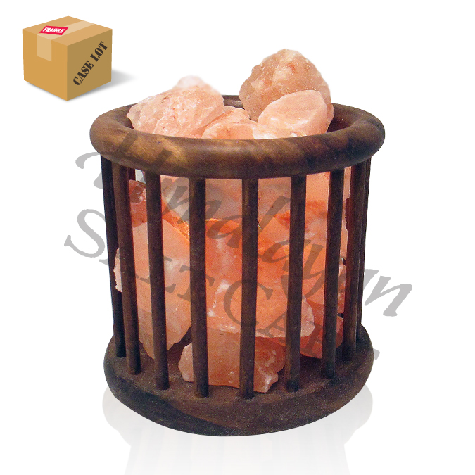 Crafted Himalayan Salt Lamps : Himalayan Salt Rosewood Feng Shui Basket Lamp - Case of 4