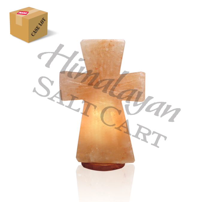 Crafted Himalayan Salt Cross Lamps : Himalayan Salt Standing Cross Lamp - Small/Full Case/2