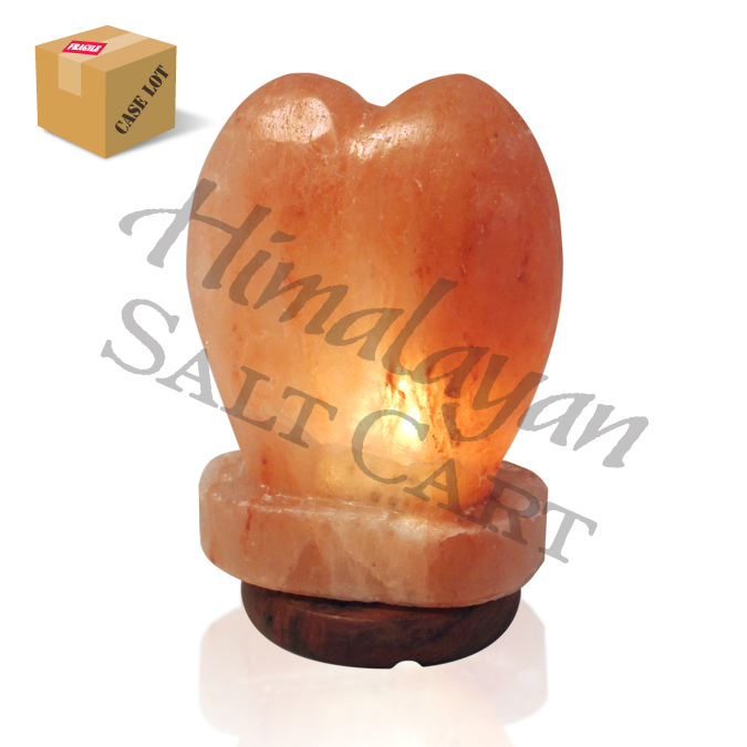 Himalayan Salt Lamps Georgia : Crafted Himalayan Salt Lamps : Himalayan Salt Standing Heart Carved Lamp/Full Case/4
